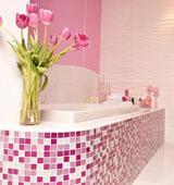 Зонирование ванной комнаты посредством мозаики