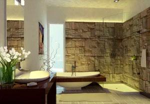 отделка камнем в ванной комнате